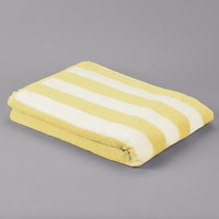 Hotel Pool Towel - Premium Cotton 35 inch x 70 inch 100% Cotton Yellow Stripe 20 lb. - 12/Pack