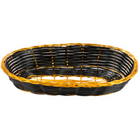 9 inch x 4 1/2 inch x 1 3/4 inch Oblong Black and Gold Rattan Cracker Basket