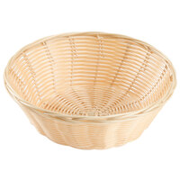 Choice 9 inch Round Natural-Colored Rattan Basket