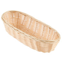 Choice 8 3/4 inch x 4 1/2 inch x 1 3/4 inch Oblong Natural-Colored Rattan Cracker Basket