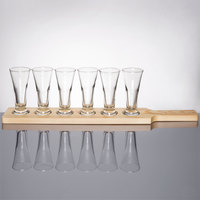Libbey Craft Brews Beer Flight - 6 Pilsner Glass Set with Natural Wood Paddle