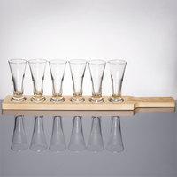 Libbey Craft Brews Beer Flight Set - 6 Pilsner Glasses with Natural Wood Paddle