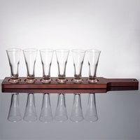 Libbey Craft Brews Beer Flight - 6 Pilsner Glass Set with Red Brown Wood Paddle