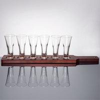 Libbey Craft Brews Beer Flight Set - 6 Pilsner Glasses with Red Brown Wood Paddle