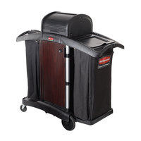 Rubbermaid FG9T9500BLA Executive Deluxe Wood Panel High Security Housekeeping Cart