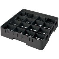 Cambro 16S638110 Camrack 6 7/8 inch High Black 16 Compartment Glass Rack