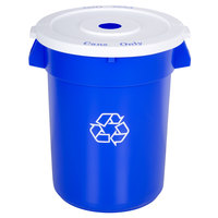 32 Gallon Blue Recycling Trash Can and Lid Set