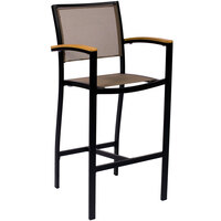 BFM Seating PH101BTPBL Delray Outdoor / Indoor Black Aluminum Bar Height Arm Chair with Taupe Batyline Seat and Back