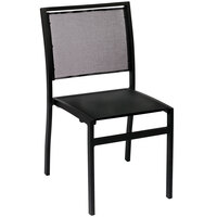 BFM Seating PH102CBLBL Delray Outdoor / Indoor Black Aluminum Side Chair with Black Batyline Seat and Back