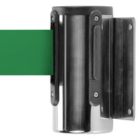 Chrome Wall-Mount Stanchion with 10' Green Retractable Belt