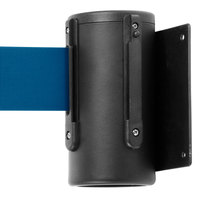 Black Wall-Mount Stanchion with 10' Blue Retractable Belt