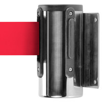 Chrome Wall-Mount Stanchion with 10' Red Retractable Belt