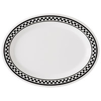GET OP-950-X 9 3/4 inch x 7 1/4 inch Diamond Chexers Oval Platter - 24/Case