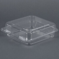 Dart Solo C55UT1 StayLock 9 inch x 8 5/8 inch x 3 inch Clear Hinged Plastic Large Container - 100 / Pack