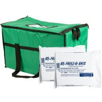 Choice Soft Sided 22 inch x 13 inch x 14 inch Green Insulated Nylon Cooler Bag with Foam Freeze Pack Kit