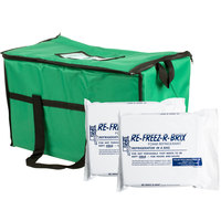 Choice Soft Sided 22 inch x 13' x 14 inch Green Insulated Nylon Cooler Bag with Foam Freeze Pack Kit
