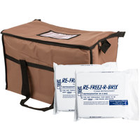 Choice Soft Sided 22 inch x 13 inch x 14 inch Brown Insulated Nylon Cooler Bag with Foam Freeze Pack Kit