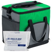 Choice Soft Sided 12 inch x 9 inch x 11 1/2 inch Green Insulated Nylon Cooler with Foam Freeze Pack Kit