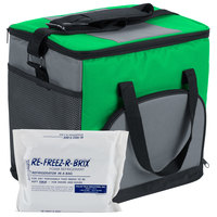 Choice Soft Sided 11 1/2 inch x 8 inch x 11 1/2 inch Green Insulated Nylon Cooler with Foam Freeze Pack Kit