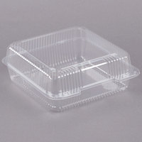 Dart C50UTD StayLock 9 1/8 inch x 9 1/2 inch x 3 5/8 inch Clear Hinged Plastic 9 inch Square High Dome Container - 125/Pack