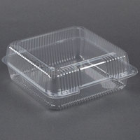 Dart Solo C50UTD StayLock 9 1/8 inch x 9 1/2 inch x 3 5/8 inch Clear Hinged Plastic 9 inch Square High Dome Container - 125/Pack