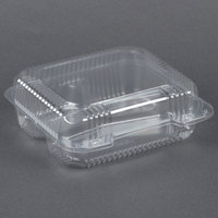 Dart Solo C51UT3 StayLock 8 1/4 inch x 7 3/4 inch x 3 inch Clear Hinged Plastic Medium 3-Compartment Container - 125 / Pack