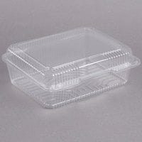 Dart Solo C80UT1 StayLock 10 1/2 inch x 8 5/8 x 3 3/4 inch Clear Hinged Plastic 10 1/2 inch Deep Base Oblong Container - 100/Pack