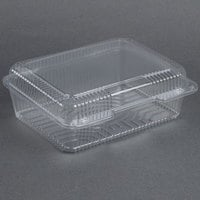 Dart Solo C80UT1 StayLock 10 1/2 inch x 8 5/8 x 3 3/4 inch Clear Hinged Plastic 10 1/2 inch Deep Base Oblong Container - 100 / Pack