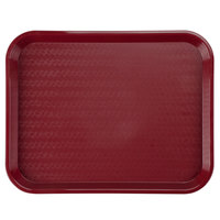 Carlisle CT141861 Customizable Cafe 14 inch x 18 inch Burgundy Standard Plastic Fast Food Tray - 12 / Case
