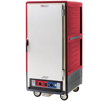 Metro C537-CLFS-4 C5 3 Series Insulated Low Wattage 3/4 Size Heated Holding and Proofing Cabinet with Fixed Wire Slides and Solid Door - Red