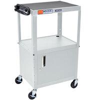 Luxor / H. Wilson AVJ42C-LG Gray Steel Adjustable AV Cart with Cabinet