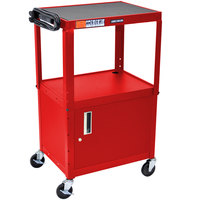 Luxor / H. Wilson AVJ42C-RD Red Steel Adjustable AV Cart with Cabinet