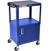 Luxor / H. Wilson AVJ42C-RB Blue Steel Adjustable AV Cart with Cabinet