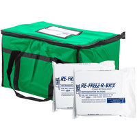 """Choice Soft Sided 23"""" x 13"""" x 15"""" Green Insulated Nylon Food Delivery Bag / Pan Carrier with Foam Freeze Pack Kit"""