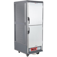 Metro C539-HLDS-L C5 3 Series Insulated Low Wattage Full Size Hot Holding Cabinet with Lip Load Aluminum Slides and Solid Dutch Doors - Gray