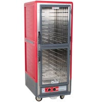 Metro C539-HLDC-4 C5 3 Series Insulated Low Wattage Full Size Hot Holding Cabinet with Fixed Wire Slides and Clear Dutch Doors - Red