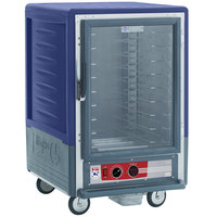 Metro C535-HLFC-L-BU C5 3 Series Insulated Low Wattage Half Size Heated Holding Cabinet with Universal Wire Slides and Clear Door - Blue