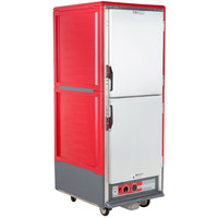 Metro C539-HLDS-L C5 3 Series Insulated Low Wattage Full Size Hot Holding Cabinet with Lip Load Aluminum Slides and Solid Dutch Doors - Red
