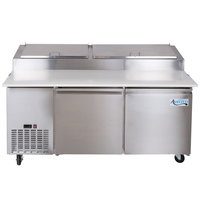 """Avantco PICL2 72"""" Two Door Refrigerated Pizza Prep Table"""