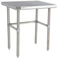 "Regency 24"" x 36"" 16-Gauge 304 Stainless Steel Commercial Open Base Work Table"