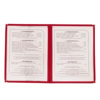 8 1/2 inch x 11 inch Two Pocket Menu Cover - Red