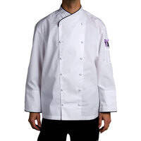 Chef Revival J008-L Chef-Tex Size 46 (L) Customizable Poly-Cotton Corporate Chef Jacket with Black Piping