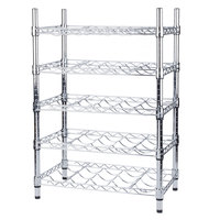 Regency 14 inch x 24 inch 5 Shelf Wire Wine Rack with 34 inch Posts - 25 Bottle Capacity