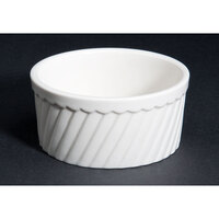 CAC RKF-12-S Bone White Fluted Souffle Bowl 12 oz. - 36/Case