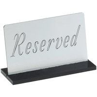 Cal-Mil 956-10 5 inch x 3 inch Silver Reserved Sign