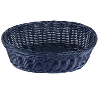 Tablecraft HM1174BL Blue Oval Rattan Basket 9 1/4 inch x 6 1/4 inch x 3 1/4 inch 6/Pack