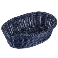 Tablecraft HM1174BL Blue Oval Rattan Basket 9 1/4 inch x 6 1/4 inch x 3 1/4 inch 6/Pack
