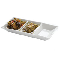 American Metalcraft PORSD3R 3 Compartment White Porcelain Sauce Dish