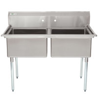 Regency 53 inch 16-Gauge Stainless Steel Two Compartment Commercial Sink without Drainboard - 23 inch x 23 inch x 12 inch Bowls