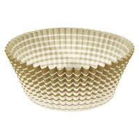 Ateco 6439 2 inch x 1 1/4 inch Gold Stripe Baking Cups (August Thomsen) - 200/Box